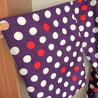 フリフ(ふりふ)の小紋二枚セット 紫に水玉、黒に菊となでしこ(着物)