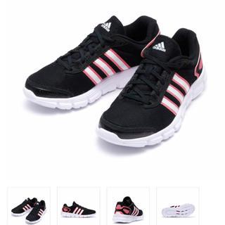 アディダス(adidas)のアディダス24.5黒ブラック×ピンク❗️値下中❗️(スニーカー)