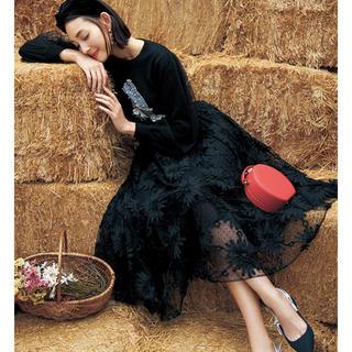 チェスティ(Chesty)の【値下げ】チェスティ  チュール刺繍スカート ブラック  1(ひざ丈スカート)