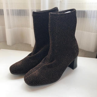 ソックスブーツ ブラック ラメ ゴールド(ブーツ)