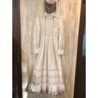 ガニーサックス(GUNNE SAX)の70s ヴィンテージ  メキシカン ウェディングドレス ワンピース(ロングワンピース/マキシワンピース)