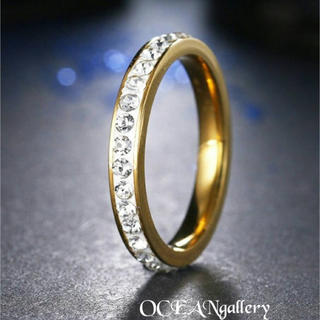 送料無料訳あり 21号 ゴールドステンレススーパーCZ フルエタニティリング指輪(リング(指輪))