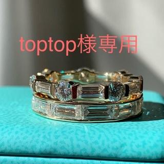 toptop様専用 最高級モアサナイト ラウンドエメラルドカット 10kYG(リング(指輪))