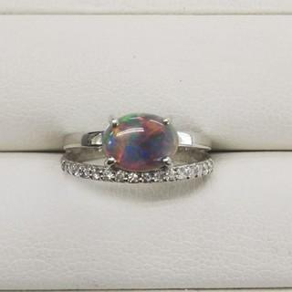 プラチナ ブラックオパール×ダイヤモンドリング(リング(指輪))