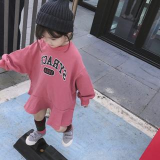 韓国こども服 女の子 トレーナーワンピース ピンク 120センチ(ワンピース)