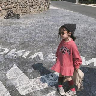 子供服 トレーナーワンピース ピンク 130センチ(ワンピース)