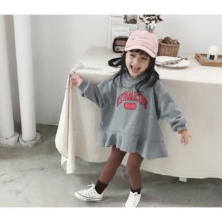 子供服 トレーナーワンピース グレー 120センチ(ワンピース)