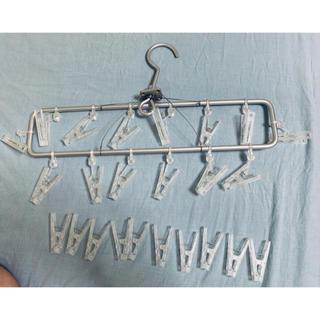 ムジルシリョウヒン(MUJI (無印良品))の無印良品 アルミ角型ハンガー薄型&ポリカーボネートピンチ10個(その他)