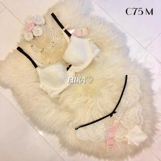 アモスタイル(AMO'S STYLE)のC75♡アモスタイル amst1213 チャーミングラマー ホワイト 白(ブラ&ショーツセット)