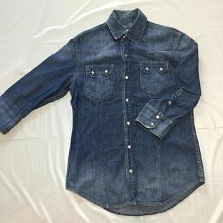 アケリコ(AKERICO)の七分袖の薄手デニムシャツ【ブルー】(シャツ)