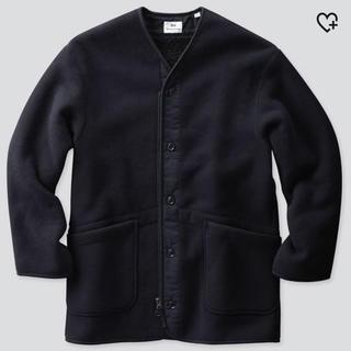 ユニクロ(UNIQLO)のSサイズ ユニクロ エンジニアドガーメンツ フリースノーカラーコート ブラック紺(ノーカラージャケット)