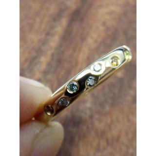 ひっかかりがなく使いやすい!K18マルチカラーダイヤリング 12号(リング(指輪))