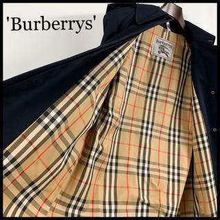 バーバリー(BURBERRY)のBURBERRY バーバリー ステンカラーコート ネイビー レディース 極美品(ロングコート)