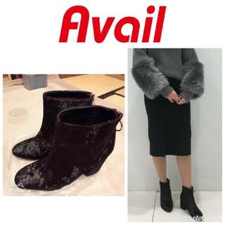 アベイル(Avail)の新品未使用 Avail アベイル ベロア チャンキーヒール ショートブーツ(ブーツ)