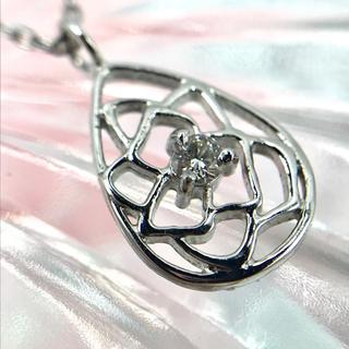 ☆K18WG ダイヤモンド 0.03ct ローズ モチーフ ネックレス 40cm(ネックレス)