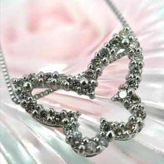 ☆K18WG ダイヤモンド D0.30 バタフライ ネックレス 45cm(ネックレス)