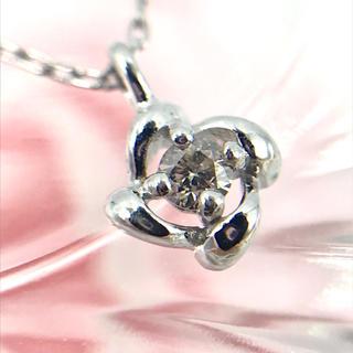 ☆K18WG ダイヤモンド D0.03ct フラワー ネックレス 40cm(ネックレス)