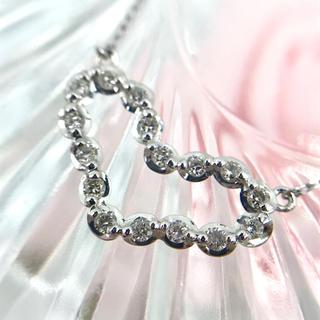 ☆K18WG ダイヤモンド 0.20 ハート モチーフ ネックレス 41.5cm(ネックレス)