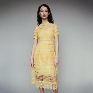 デイジーストア(dazzy store)のイエローレースワンピース キャバドレス (インナーキャミ付き)(ナイトドレス)