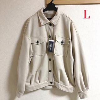シマムラ(しまむら)の新品 しまむら レディース スエードポンチ ジャケット ライトベージュ L(ブルゾン)