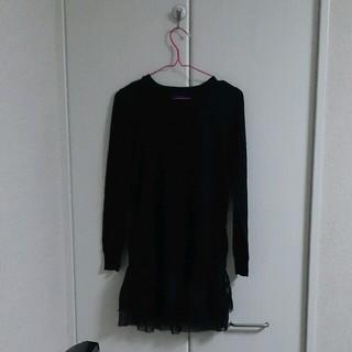 グリーンレーベルリラクシング(green label relaxing)の裾レース黒ニット(ニット/セーター)