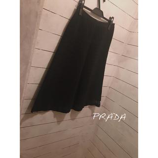 プラダ(PRADA)のプラダ スカート 黒 ミモレ丈 クロエ miu miu マックスマーラ セオリー(ひざ丈スカート)