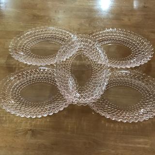 トウヨウササキガラス(東洋佐々木ガラス)の昭和レトロ【TOYOガラス】ハートカットオーバル皿5枚(食器)
