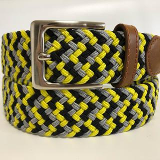 w12 メンズ伸縮ストレッチベルト 黄色×グレー×黒カラーmix   (ベルト)