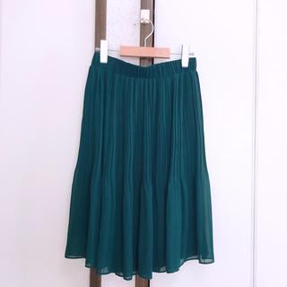 ダブルクローゼット(w closet)のプリーツスカート グリーン(ひざ丈スカート)