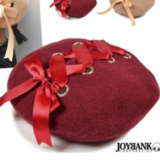 アンクルージュ(Ank Rouge)の残りわずか再入荷☆ リボンベレー帽♡レースアップ♡レッド 赤 新品 未開封(ハンチング/ベレー帽)