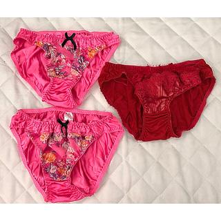 送料込 ピンク花柄ブラジャー&ショーツ2枚のセット(M)新品 オマケ付き(ブラ&ショーツセット)