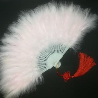 新品 特大羽扇子 ジュリアナ 大きな紐飾り付き ベビーピンク(小道具)