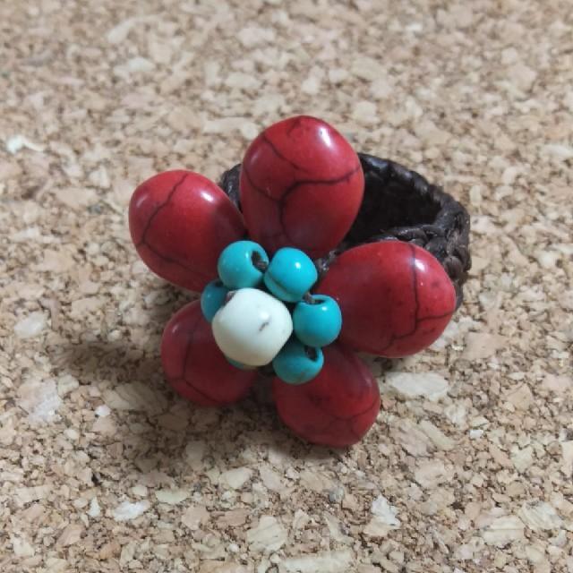 ターコイズ指輪 BG16-15 赤 レディースのアクセサリー(リング(指輪))の商品写真