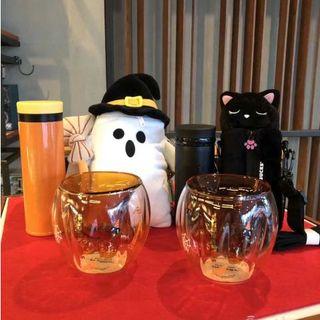 スターバックスコーヒー(Starbucks Coffee)のスタバ 10月新品 お化け ステンレスボトル ゴストカバー  保温保冷 オレンジ(水筒)