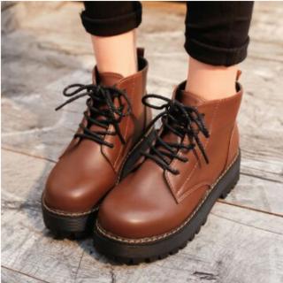 厚底イングランド風 厚底ブーツ  ブラウン(ローファー/革靴)