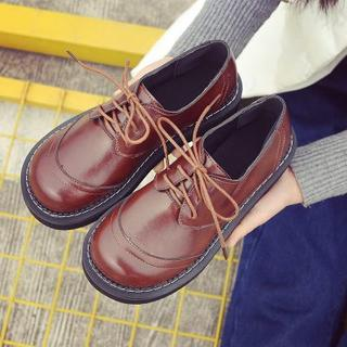 美脚  革靴ローファー紐フラットレディースシューズ ブラウン(ローファー/革靴)