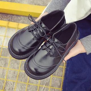 美脚  革靴ローファー紐フラットレディースシューズ  ブラック (ローファー/革靴)