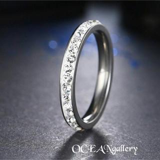 送料無料訳あり 24号 シルバーステンレススーパーCZフルエタニティリング指輪(リング(指輪))