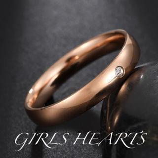 送料無料25号ピンクゴールドワンポイントスーパーCZダイヤステンレスリング指輪(リング(指輪))