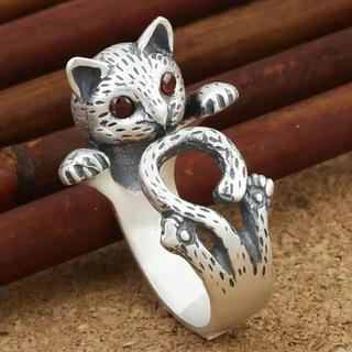 特価!可愛らしいネコのレディースリング ゴシック、ロリータ系 6、7号相当(リング(指輪))