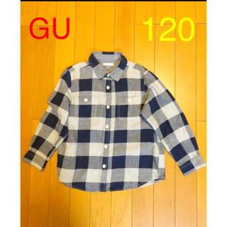 GU - GU  チェック フランネルシャツ 120