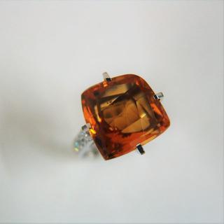 プラチナ900 シトリン・ダイヤリング y0781(リング(指輪))