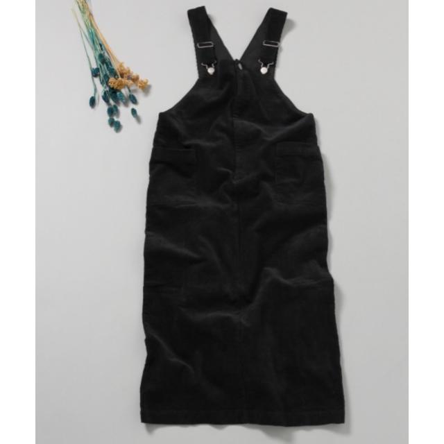 RAGEBLUE(レイジブルー)のRAGE BLUE コーデュロイ ジャンスカ 黒 レディースのパンツ(サロペット/オーバーオール)の商品写真