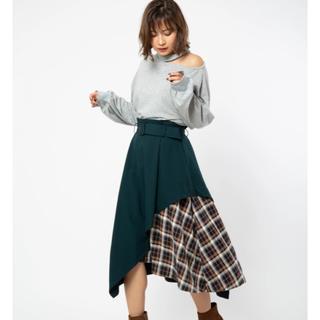 セシルマクビー(CECIL McBEE)の【新品タグ付き】CECIL McBEE イレヘムブロッキングデザインスカート(ロングスカート)