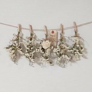 特別ボリュームホワイト小花のドライフラワースワッグガーランド/かすみ草 千日紅(ドライフラワー)