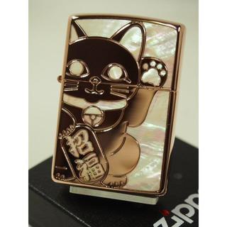 ジッポー(ZIPPO)のZippo シェルラッキー キャット 招き猫/両面/ピンクゴールド RPK(タバコグッズ)