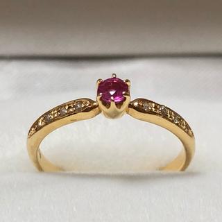 ヨンドシー(4℃)の4°C K18 YG ルビー ダイヤモンド リング 約10号(リング(指輪))