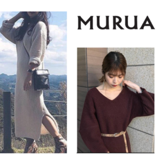 ムルーア(MURUA)のMURUA/未使用 スリット入 もっちりニットマキシワンピース(ロングワンピース/マキシワンピース)