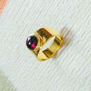新品 17号サイズ ゴールドリング ガーネット ジャイプルジュエリー 送料込み(リング(指輪))