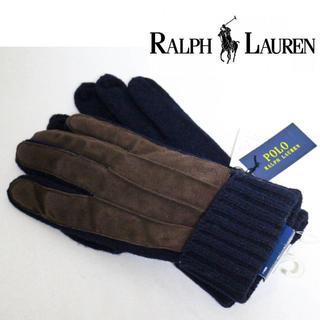 ポロラルフローレン(POLO RALPH LAUREN)の《ポロ ラルフローレン》新品 ウール ニット手袋 羊革使用 紺 Fサイズ(手袋)